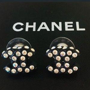 CHANEL crystal 14k yellow gold post  earrings